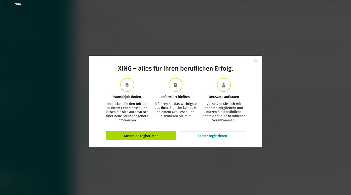 XING W10 App About XING